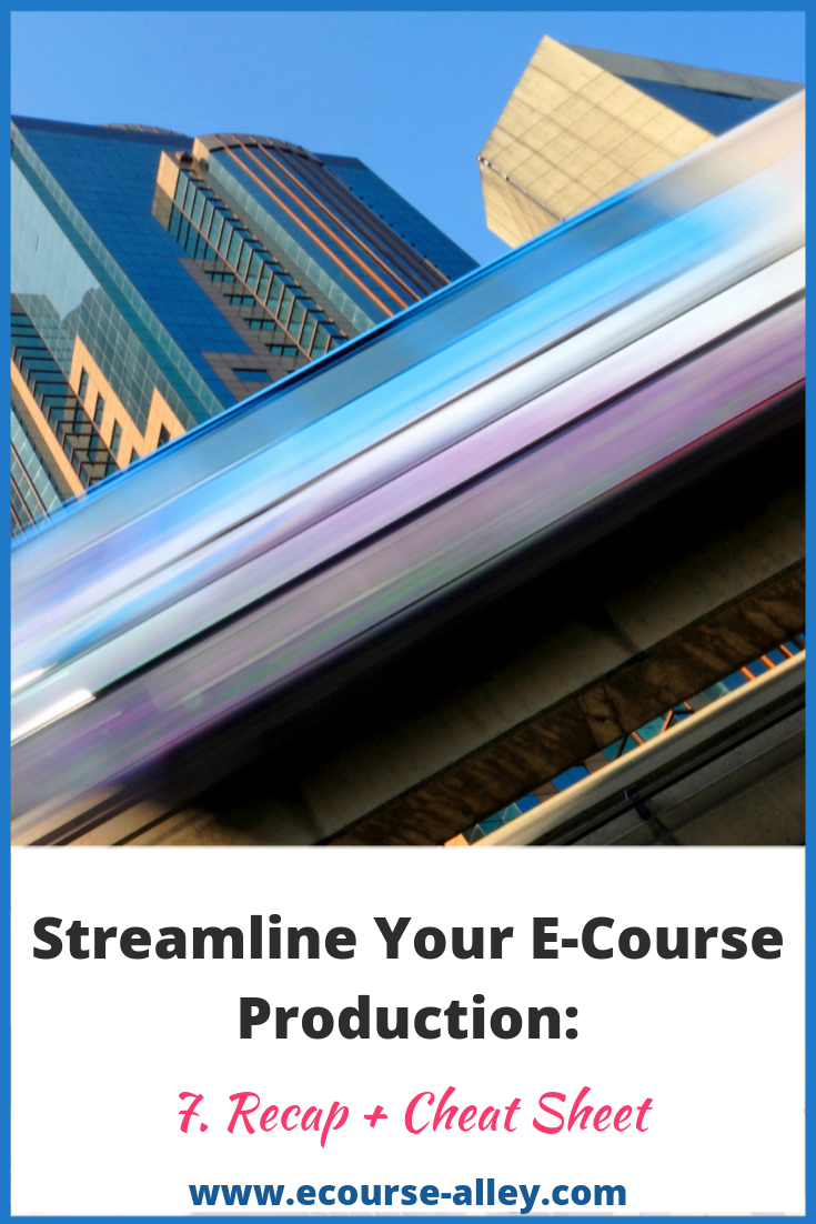 Post #7: Streamline Your E-Course Production: Recap + Cheat Sheet