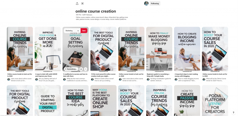 Online Course Creation Pinterest Board by therandomp.com