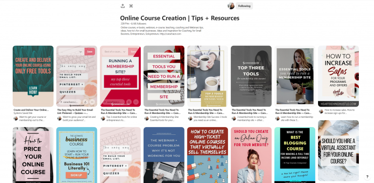 Online Course Creation Tips and Resources Pinterest Board by Cara Chace