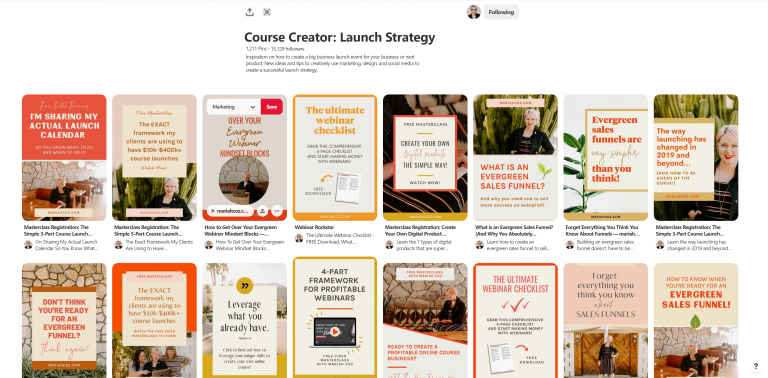Course Creator Launch Strategy Pinterest Board by Mariah Coz